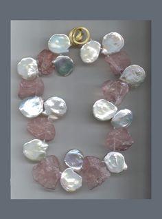 N-3540-Freshwater-Keshi-Pearls,-rose-Quartz-chunks-with-Ridged-Angela-clasp-in-18K-yellow-Gold