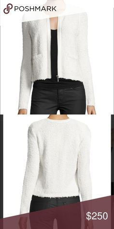 "Women's White Jacolyn B Collarless Cropped Jacket Joie ""Jacolyn B"" jacket in textural mixed yarn with tonal solid trim. Round, collarless neckline; front zip. Long sleeves; ribbed cuffs. Front slip pockets. Slim silhouette. Cropped hem. Joie Jackets & Coats"