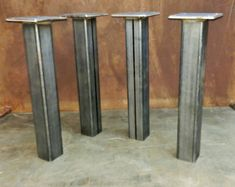 Metal Tube Table Legs Set of 4 12-28 height by SteelImpression