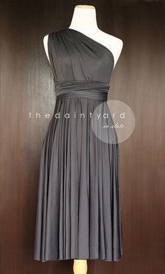 Short Straight Hem Slate Bridesmaid Convertible Dress Infinity Dress Multiway Wrap Dress Prom Dress Dark Grey Gray Charcoal on Etsy, $34.00