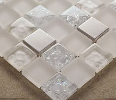 DecorGenius Stainless Steel Sink Floor Tile 3D Mirror Ice Cracked Crystal Mosaic Glass Wall Tiles