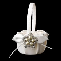 Pearl Flower Girl Basket 17 with Antique Silver Floral Star Pearl Brooch 117
