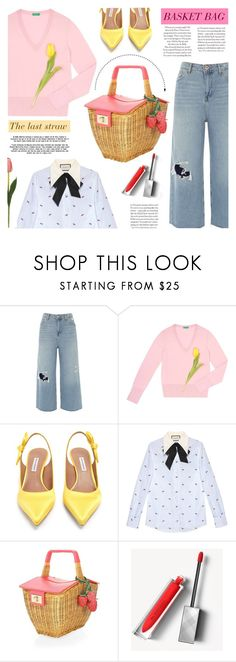 """""""BASKET BAGS"""" by tiziana-melera ❤ liked on Polyvore featuring River Island, Tabitha Simmons, Gucci, Kate Spade, Burberry, straw, basketbags and TheLastStraw"""