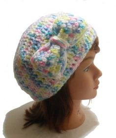 Crochet Bow Tam Beanie Hat in White Blue Yellow by AddSomeStitches, $22.00
