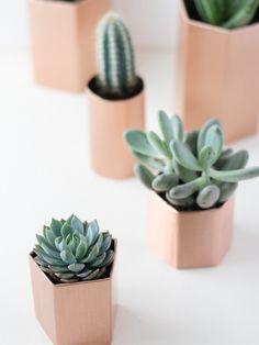 DIY metallic geometrische plantpotten Mooiwatplantendoen.nl