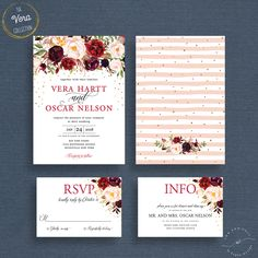 The Vera Collection Impress your future wedding guests with this gorgeous & professionally designed CUSTOM WEDDING INVITE SUITE featuring a stunning combination of fresh modern fonts and lovely watercolor flowers! You will receive your customized invitations by email after you make your purchase; so you can print as many as you like. ----------++ BUILD YOUR SUITE ++---------- If you dont need all of the items in the suite, just order the cards that you need using the drop down menu. ...