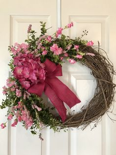 Gorgeous Dark Pink Hydrangea Grapevine Wreath! HYDRANGEA WREATH, approx. 19x23 Grapevine Wreath with Large Hydrangea, Wildflowers,Artificial Greenery, and optional Burlap Bow. Available in Pink and Purple! Customize your own Wreath, please leave flower color and ribbon choice in notes to
