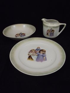 Antique Childs Porcelain 3Pc Breakfast Set by TheClassyGlassLassy