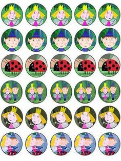30 ben and holly #little #kingdom #birthday edible rice paper cake/cupcake…