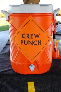 Drinks - Orange hawaiian punch  BLATANT BORROWER: First Birthday - Construction Party