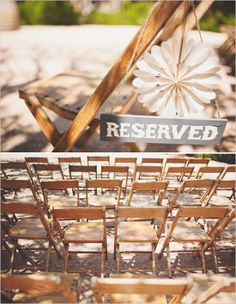 reserved seating for ceremony and pinwheels for each chair
