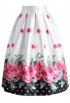 Dotted with Roses Midi Skirt - New Arrivals - Retro, Indie and Unique Fashion