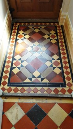 The owner of this property in Swansea contacted me recently about a two-part job that would involve the restoration of both a Quarry tiled hallway and a Victorian tiled lobby. The property itself d… Victorian Hallway Tiles, Tiled Hallway, Hall Flooring, Porch Flooring, Vinyl Flooring, Minton Tiles, Hall Tiles, Porch Tile, Victorian Porch