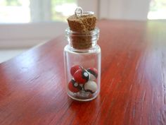 Bottle Necklace charm Pokéball by IndigoMagnolia on Etsy, $10.00