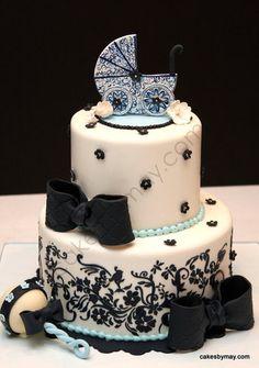 Stroller Baby Shower Cake - by CakesbyMaylene @ CakesDecor.com - cake decorating website
