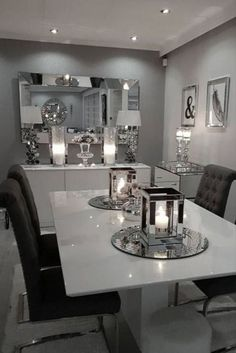 Create an amazing dinner room decor with our inspi Dining Room Table Decor, Elegant Dining Room, Luxury Dining Room, Dining Room Sets, Dining Room Design, Dinning Table Decorations, Dinning Room Ideas, White Gloss Dining Table, Glass Dining Room Table