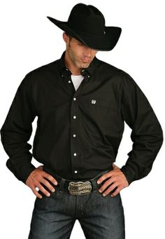 Cinch Men's Black Pinpoint Oxford Button Down Longsleeve Shirt -- This is the perfect cowboy look! What do y'all think? Would you change anything about his outfit?  | SouthTexasTack.com