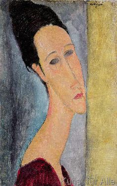 1918 PORTRAIT OF Jeanne Hébuterne  by Amedeo Modigliani (Livorno, Italy 1884~1920 Paris, France)