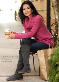 I want this tweed cowl neck sweater and the sweater cuff boots