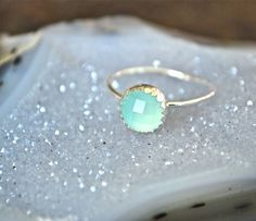 Sand and Surf Blue Green Chalcedony Silver Bezel Ring by Etsy seller JLaurynDesign