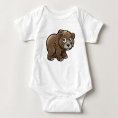#cute #baby #bodysuits - #Bear Grizzly Animals Cartoon Character Baby Bodysuit