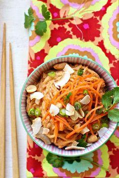 Spaghetti Squash Noodles with Thai Coconut Peanut Sauce Recipe | FamilyFreshCooking.com