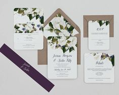 White Floral Wedding invitation set,White,Blue and Plum Floral Wedding Invitations,Boho Wedding Invite,Winter White Wedding Invites, Autumn