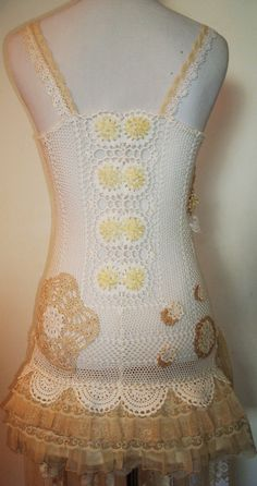 Boho/Hippie/Crochet/Lacy/Overlay/Dress by AjasPlace on Etsy