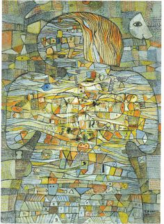 mujer universal; collage óleo y madera