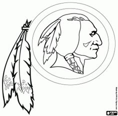free washington redskins logo american football franchise in nfc east division landover maryland and ashburn virginia coloring and printable page