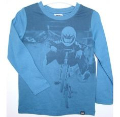 Milky Stunt Bike Tee  Price: $21.95 Description:  Uber cool and hip long sleeve boys stunt bike tee by Milky!  Gorgeous, versatile and durable baby and children's clothing by Milky! Individual pieces, sprinkled with detailing, hand finishes and refreshing colour palettes, with quality fabrics & fun, delicate, edgy designs for boys & girls.