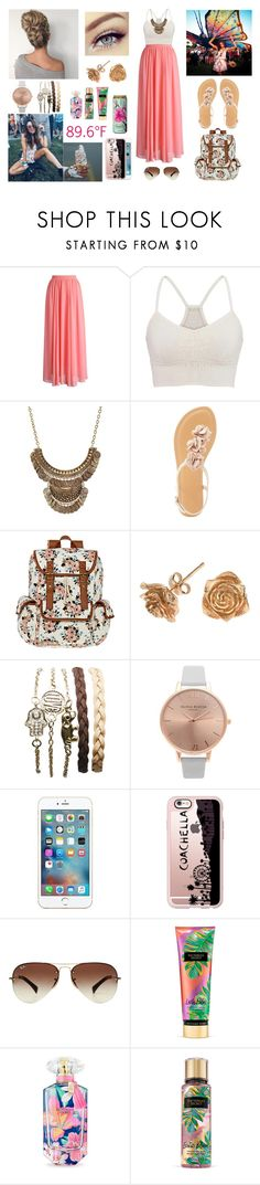 """""""Coachella with Asma and Danielle"""" by louisericoul ❤ liked on Polyvore featuring Chicwish, maurices, Charlotte Russe, SM New York, Dower & Hall, Wet Seal, Olivia Burton, Casetify, Ray-Ban and Victoria's Secret"""