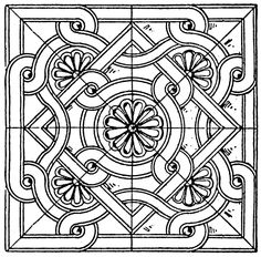 Byzantine square tile panel, from an Handbook of Historic Ornament by Ernst Rettelbusch Mosaic Drawing, Mosaic Art, Line Drawing, Pattern Design Drawing, Pattern Art, Art Patterns, Arabian Pattern, Medieval Pattern, Byzantine Art