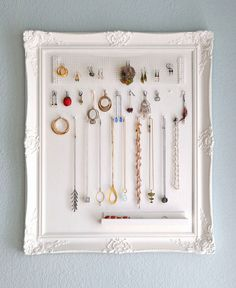 Do-it-yourself jewelry storage frame. Anyone up for an arts  crafts challenge?