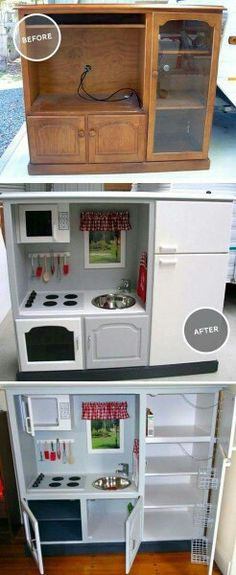 54 Ideas For Kids Furniture Playroom Play Kitchens Play Kitchens, Diy Play Kitchen, Tv Stand To Play Kitchen, Childs Kitchen, Toddler Kitchen Set, Kid Kitchen, Kitchen Ideas, Kitchen Decor, Diy Casa