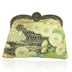ART DECO ASIAN SILK FABRIC & STERLING SILVER MARCASITE CLUTCH