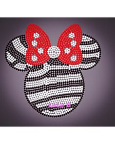 Minnie Mouse Zebra and red bow - Disney zebra Minnie with red bow iron on hot fix rhinestone transfers Disney applique MEGA DEAL (only 6.99) on Etsy, $6.99