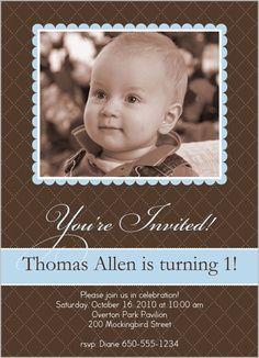 Baby Boys First Birthday Invitations