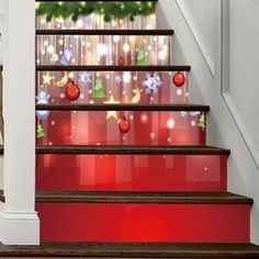 Christmas Hanging Baubles Pattern Stair Stickers - 100*18CM*6PCS 100*18CM*6PCS Stair Stickers, Wall Decor Stickers, Christmas Presents, Christmas Decorations, Holiday Decor, Christmas Stairs, Elegant Homes, Home Collections, Shapes