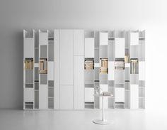 White Minimalist Modern Design Shelving Systems from MDF Italia Bookcase Shelves, Storage Shelves, Filing Storage, Large Bookshelves, Shelf, Cabinet Storage, Bookcases, Minimalist Home Furniture, Minimalist House
