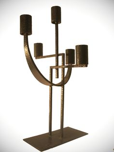 Iron Art Deco Candle Holder, 1930s.