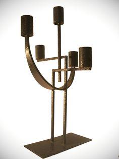 Iron Art Deco Candle Holder, 1930s.