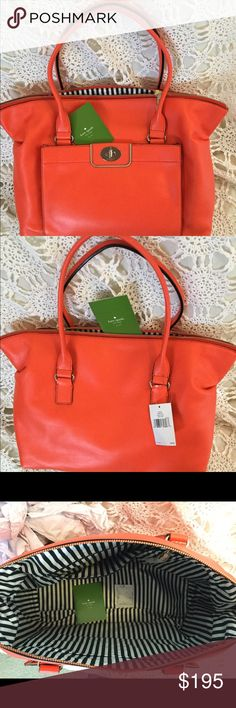"""Kate Spade Hampton Road Satchel in Flame NWT Kate Spade Theresa Hampton Road (Style:WKRU2941) Beautiful Flame color high-quality leather•Top zipper closure with leather pull•Flat bottom with four metal feet•Turn-lock closure on the front exterior pocket•Two Interior Multifunction Slip Pockets•One Interior Zipper Pocket w/Kate Spade Leather Tag•14k gold plated hardware•12"""" (H) x Top 17"""" bottom 15"""" (W) x 6"""" (D)•Black white striped Signature satin Interior Lining•Dual Leather handles 10"""" Drop…"""