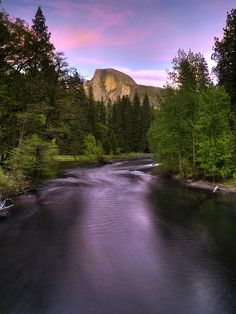 Half Dome and Merced River at Sunset, Yosemite National Park, California by Ed Post
