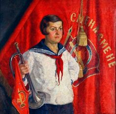 Young Pioneer with a Horn (1933)  Paining by Ilya Mashkov (1881–1944).  Gallery of 63 paintings by the artist: http://gallart.by/Ilya_Mashkov.html