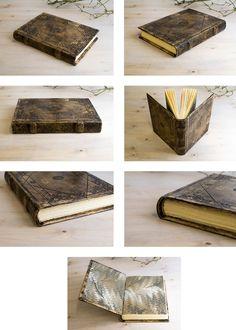 Leather Blank Book, hard cover. Handmade blindtooling decoration.   www.elcodicedeleremita.com