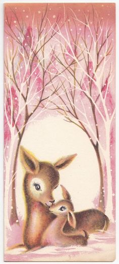 Vintage Greeting Card Christmas Mother & Baby Deer Mid-Century Pink Trees Snow