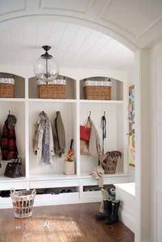 I like the multiple hooks + shoe tray (maybe change to full/covered drawers)