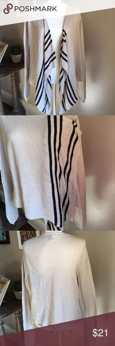 """Old Navy Lightweight Waterfall Cardigan Lightweight tan and black Waterfall Cardigan. Ramie & cotton. 32"""" from shoulder to longest point in front. The back length is 24"""". Size large. EUC:) Old Navy Sweaters"""