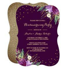 Watercolor Gold Purple Flower Housewarming Party Card - purple floral style gifts flower flowers diy customize unique
